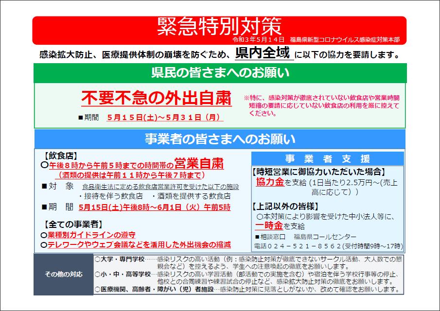 福島県新型コロナウイルス感染症非常事態宣言について
